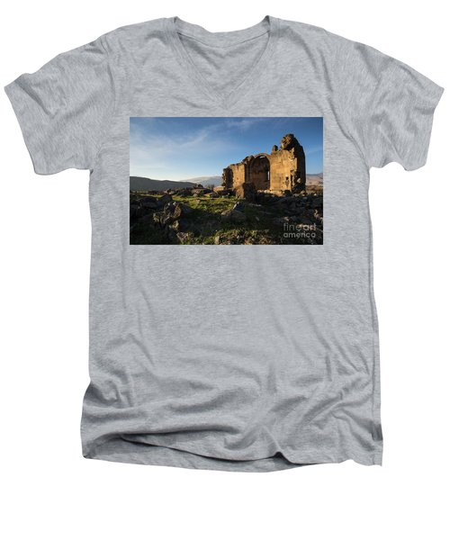 Splendid Ruins Of St. Grigor Church In Karashamb, Armenia Men's V-Neck T-Shirt