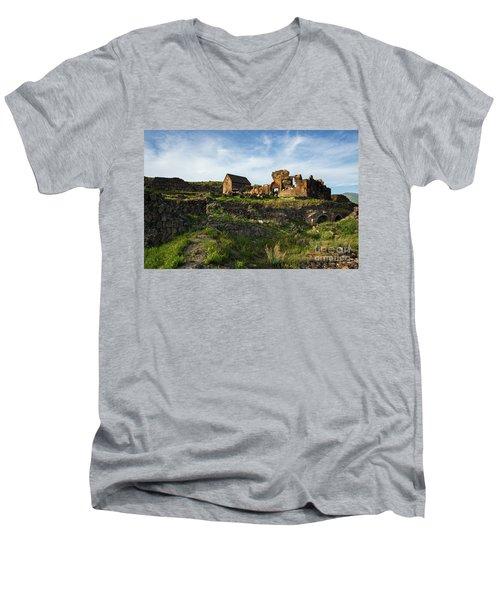Splendid Ruins Of St. Sargis Monastery In Ushi, Armenia Men's V-Neck T-Shirt by Gurgen Bakhshetsyan