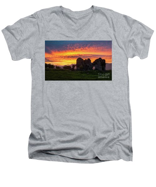 Splendid Ruins Of Tormak Church During Gorgeous Sunset, Armenia Men's V-Neck T-Shirt