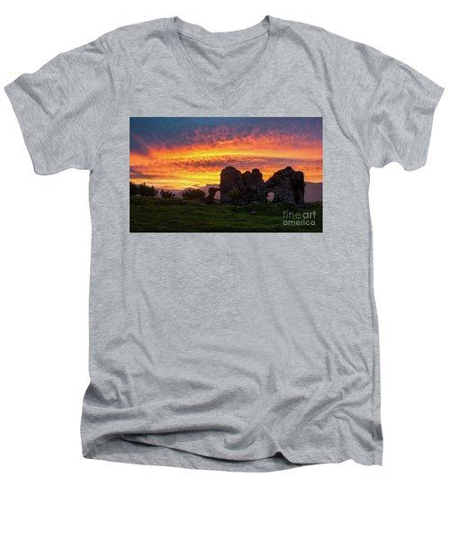 Splendid Ruins Of Tormak Church During Gorgeous Sunset, Armenia Men's V-Neck T-Shirt