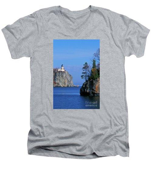 Split Rock Lighthouse - Fs000120 Men's V-Neck T-Shirt by Daniel Dempster