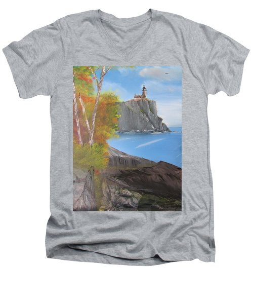 Split Rock Lighthouse Minnesota Men's V-Neck T-Shirt