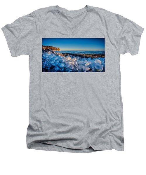 Split Rock Lighthouse With Ice Balls Men's V-Neck T-Shirt