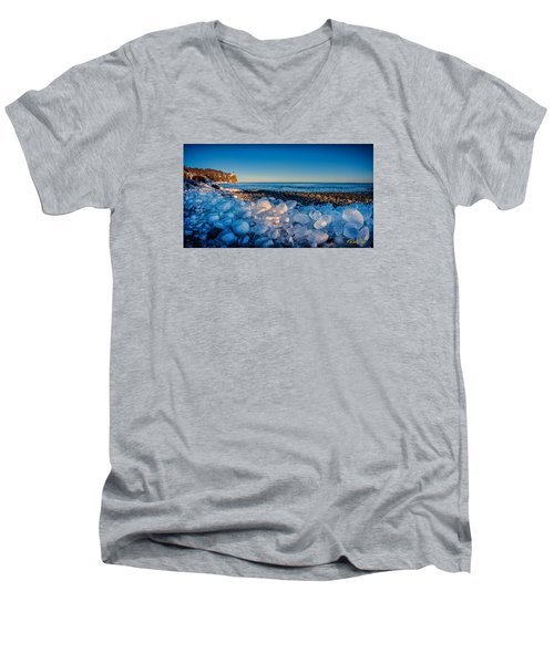 Split Rock Lighthouse With Ice Balls Men's V-Neck T-Shirt