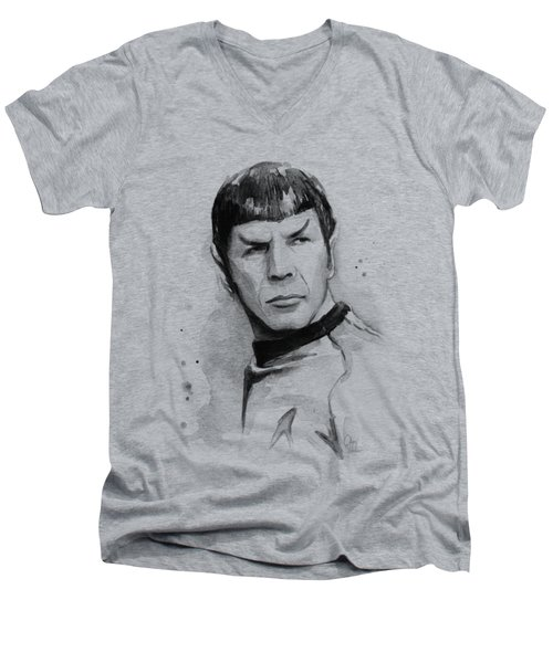Spock Portrait Men's V-Neck T-Shirt by Olga Shvartsur