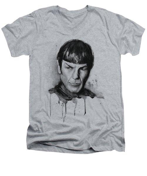 Spock Portrait Watercolor Star Trek Fan Art Men's V-Neck T-Shirt by Olga Shvartsur