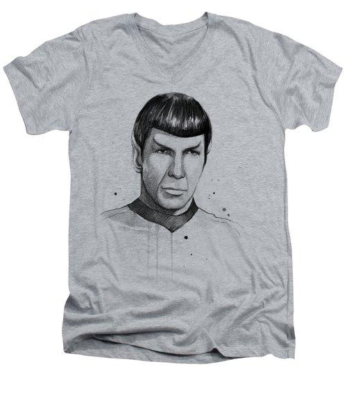 Spock Watercolor Portrait Men's V-Neck T-Shirt by Olga Shvartsur