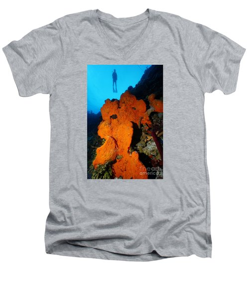 Men's V-Neck T-Shirt featuring the photograph Sponge Diver by Aaron Whittemore