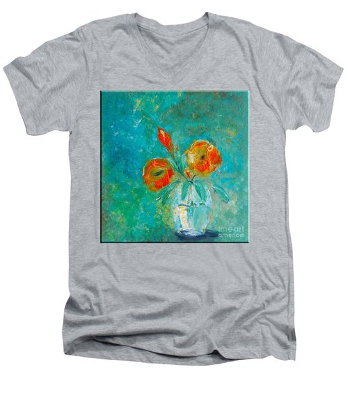 Palette Knife Floral Men's V-Neck T-Shirt by Lisa Kaiser