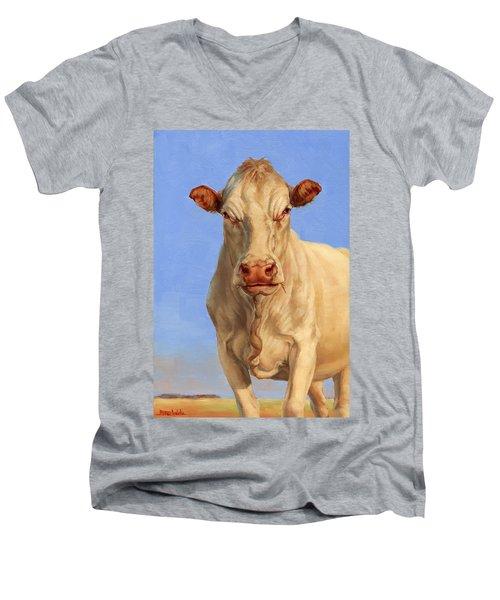 Spooky Cow Men's V-Neck T-Shirt by Margaret Stockdale