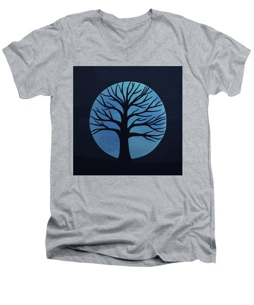 Spooky Tree Blue Men's V-Neck T-Shirt