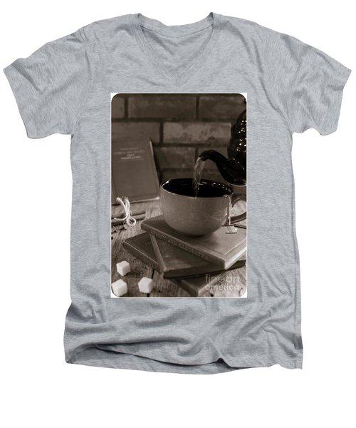 Men's V-Neck T-Shirt featuring the photograph Spot Of Tea by Deborah Klubertanz