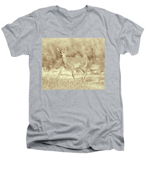 Spotted Fawn Men's V-Neck T-Shirt by Jim Lepard