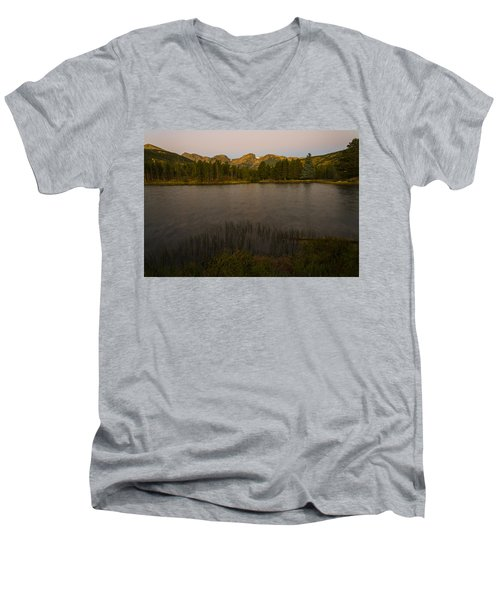 Sprague Lake Men's V-Neck T-Shirt by Gary Lengyel