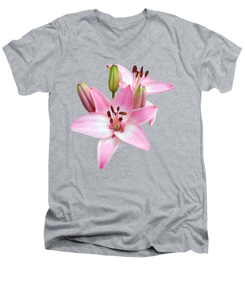 Spray Of Pink Lilies Men's V-Neck T-Shirt
