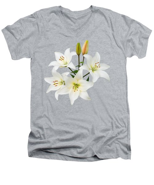 Men's V-Neck T-Shirt featuring the photograph Spray Of White Lilies by Jane McIlroy