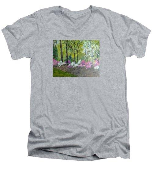 Spring Along Tega Cay Drive Men's V-Neck T-Shirt