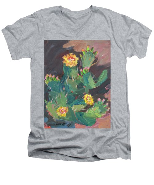 Men's V-Neck T-Shirt featuring the painting Spring And Prickly Burst Cactus by Diane McClary
