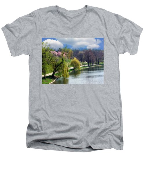 Spring At The Lake Men's V-Neck T-Shirt by Judi Saunders