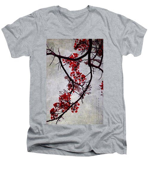 Spring Bloosom In Maldives. Flamboyant Tree II. Japanese Style Men's V-Neck T-Shirt