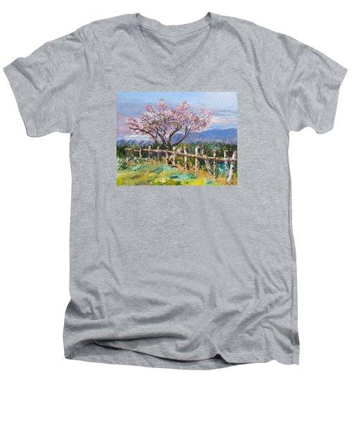 Spring Blossom Pallet Knife Painting Men's V-Neck T-Shirt by Lisa Boyd