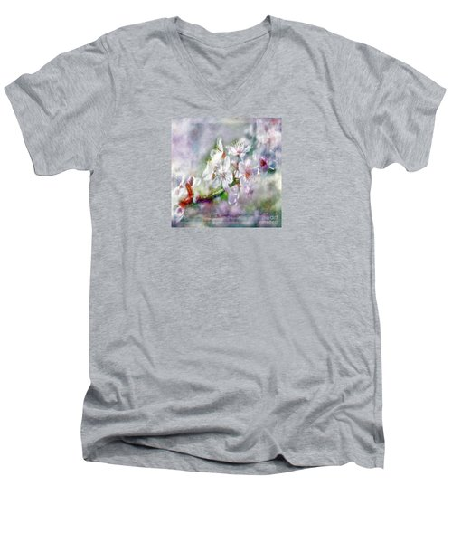 Spring Blossoms Men's V-Neck T-Shirt by Jean OKeeffe Macro Abundance Art