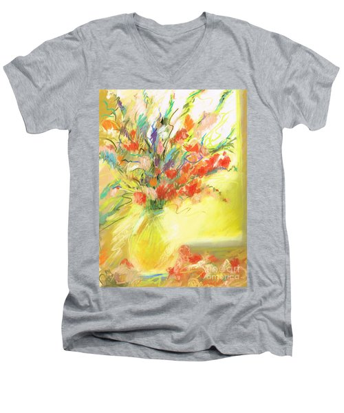 Men's V-Neck T-Shirt featuring the painting Spring Bouquet by Frances Marino
