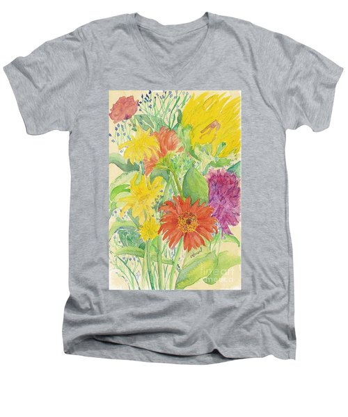 Men's V-Neck T-Shirt featuring the painting Spring Bouquet  by Vicki  Housel