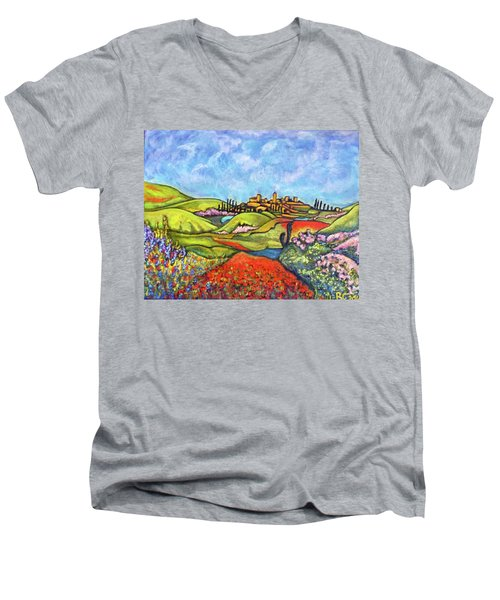 Men's V-Neck T-Shirt featuring the painting Spring Breeze by Rae Chichilnitsky