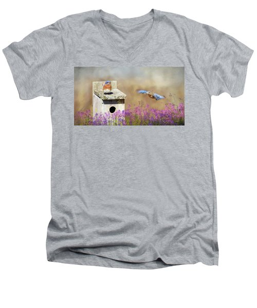 Men's V-Neck T-Shirt featuring the photograph Spring Builders by Lori Deiter