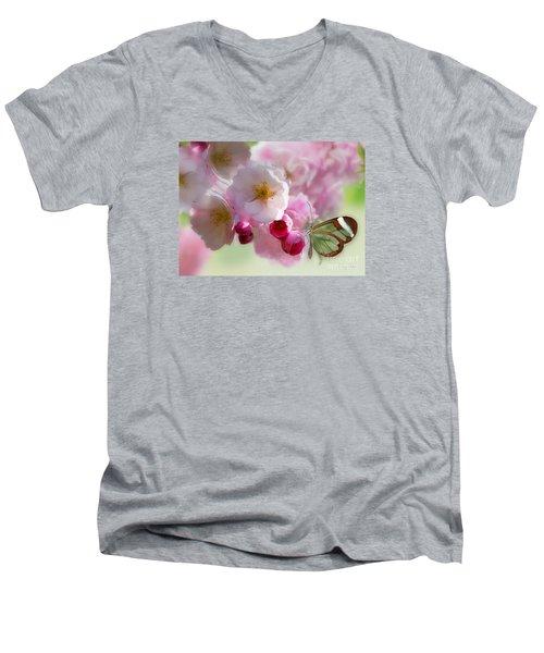 Spring Cherry Blossom Men's V-Neck T-Shirt by Morag Bates