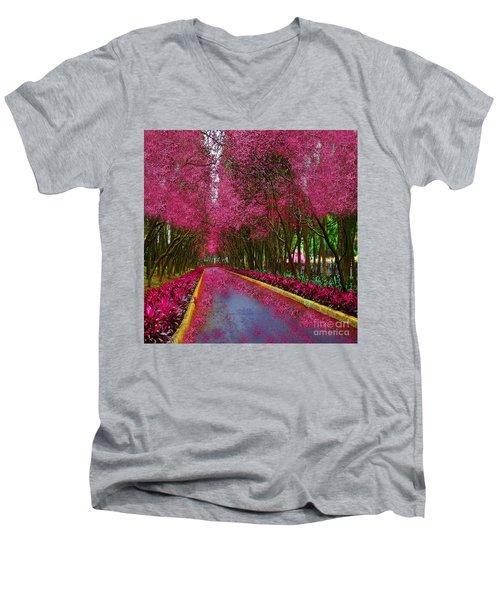 Spring Cherry Blossoms Men's V-Neck T-Shirt by Saundra Myles