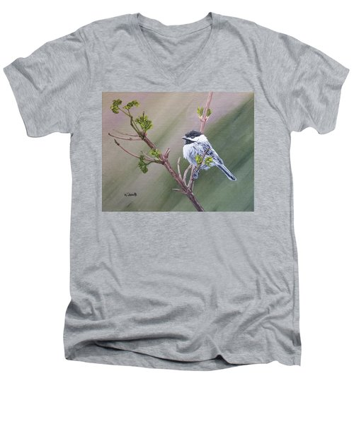 Spring Chickadee Men's V-Neck T-Shirt by Wendy Shoults