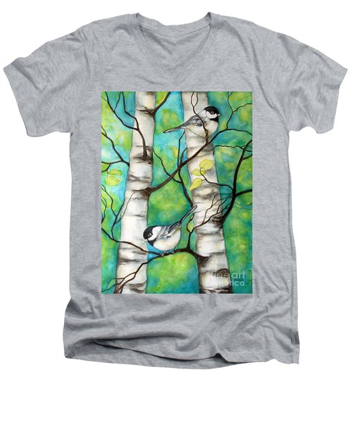 Men's V-Neck T-Shirt featuring the painting Spring Chickadees by Inese Poga