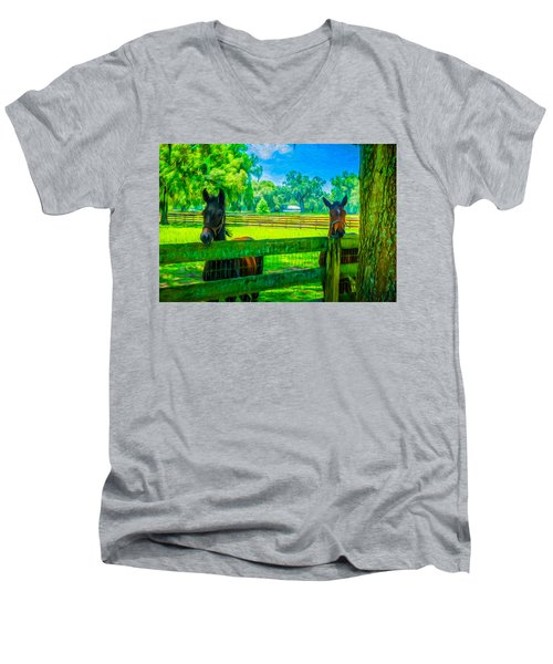 Men's V-Neck T-Shirt featuring the painting Spring Colts by Louis Ferreira