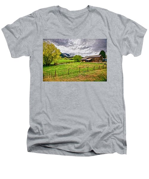 Men's V-Neck T-Shirt featuring the digital art Spring Coming To Life by James Steele