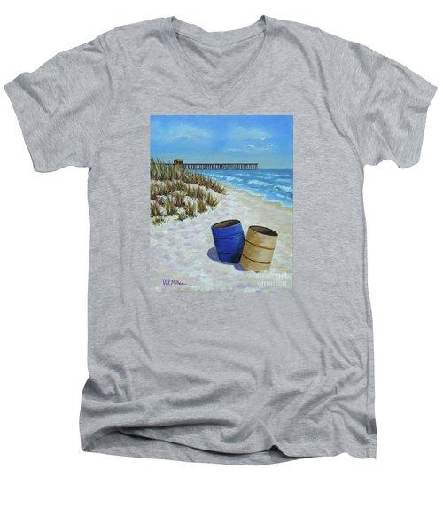Spring Day On The Beach Men's V-Neck T-Shirt by Val Miller