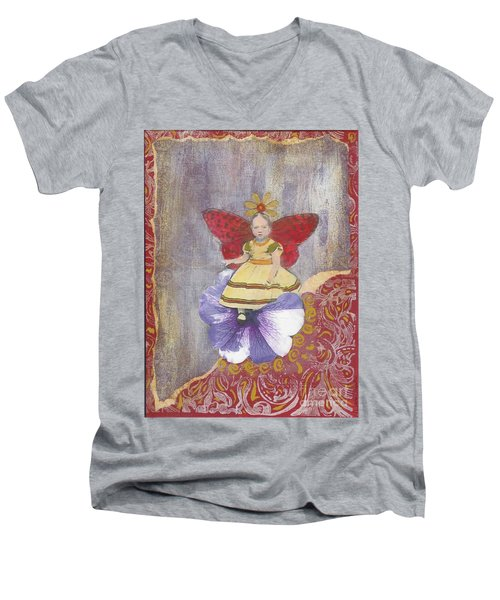 Men's V-Neck T-Shirt featuring the mixed media Spring by Desiree Paquette