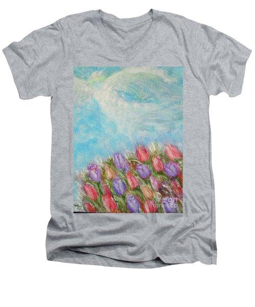 Spring Emerging Men's V-Neck T-Shirt by Lyric Lucas