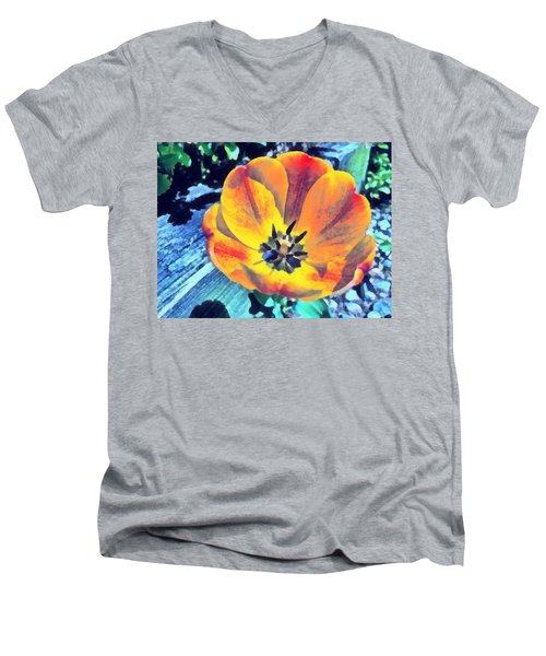 Men's V-Neck T-Shirt featuring the photograph Spring Flower Bloom by Derek Gedney
