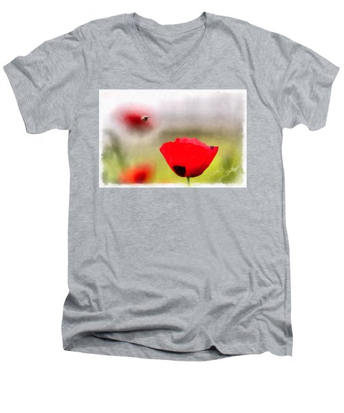 Spring Flowering Poppies Men's V-Neck T-Shirt