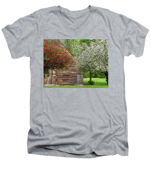 Spring Flowers And The Barn Men's V-Neck T-Shirt