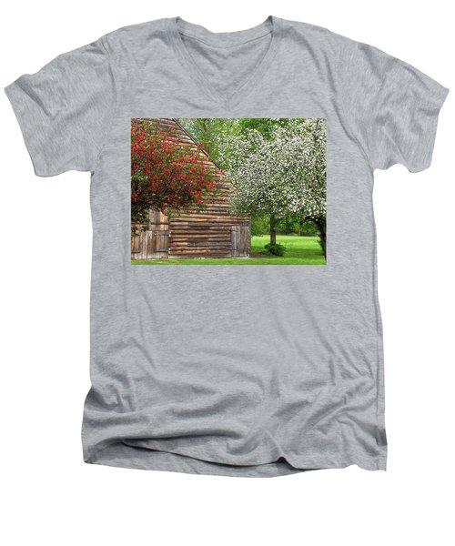 Spring Flowers And The Barn Men's V-Neck T-Shirt