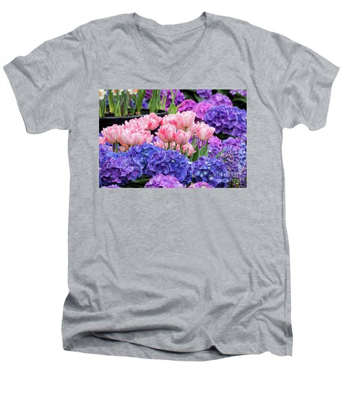 Spring Flowers Men's V-Neck T-Shirt by Darleen Stry