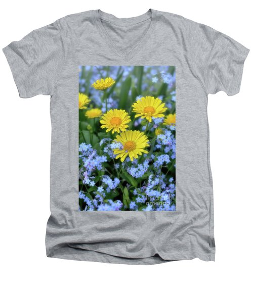 Spring Flowers Forget Me Nots And Leopard's Bane Men's V-Neck T-Shirt by Henry Kowalski