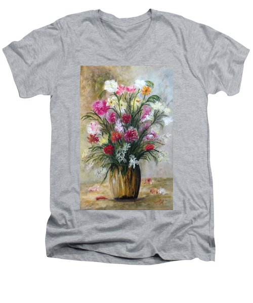 Men's V-Neck T-Shirt featuring the painting Spring Flowers by Renate Voigt