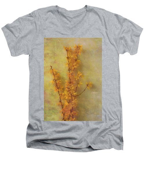 Spring Forsythia Men's V-Neck T-Shirt by Catherine Alfidi