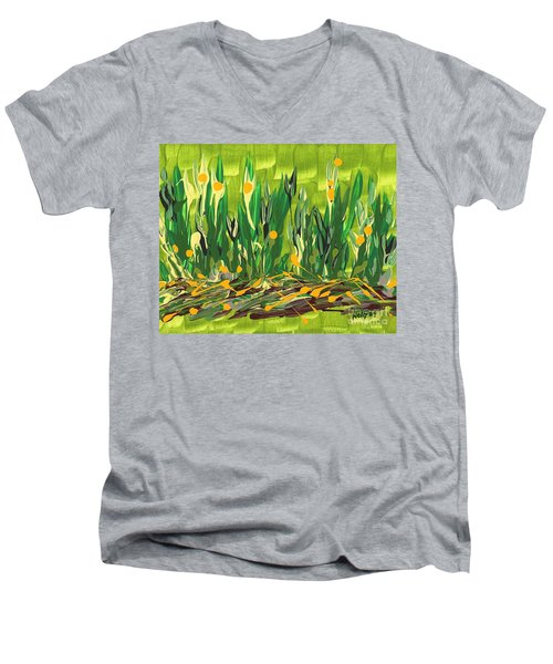 Men's V-Neck T-Shirt featuring the painting Spring Garden by Holly Carmichael