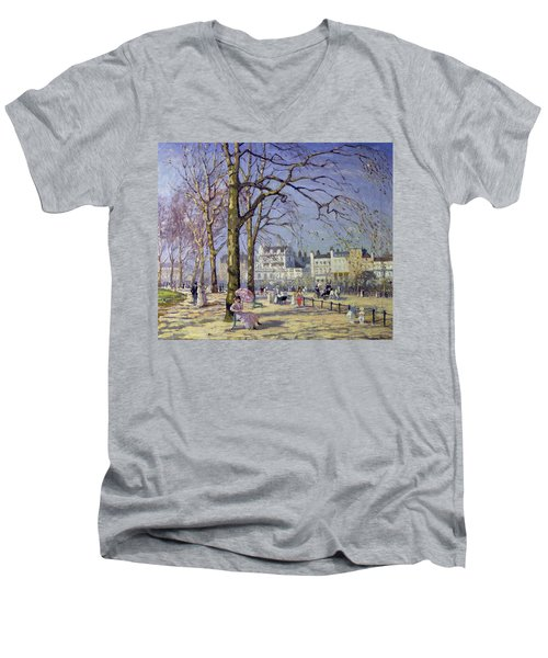 Spring In Hyde Park Men's V-Neck T-Shirt by Alice Taite Fanner