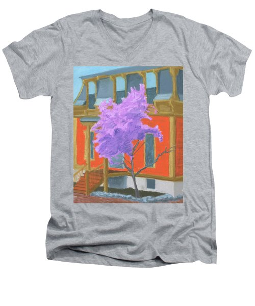 Spring In Pink And Orange Men's V-Neck T-Shirt